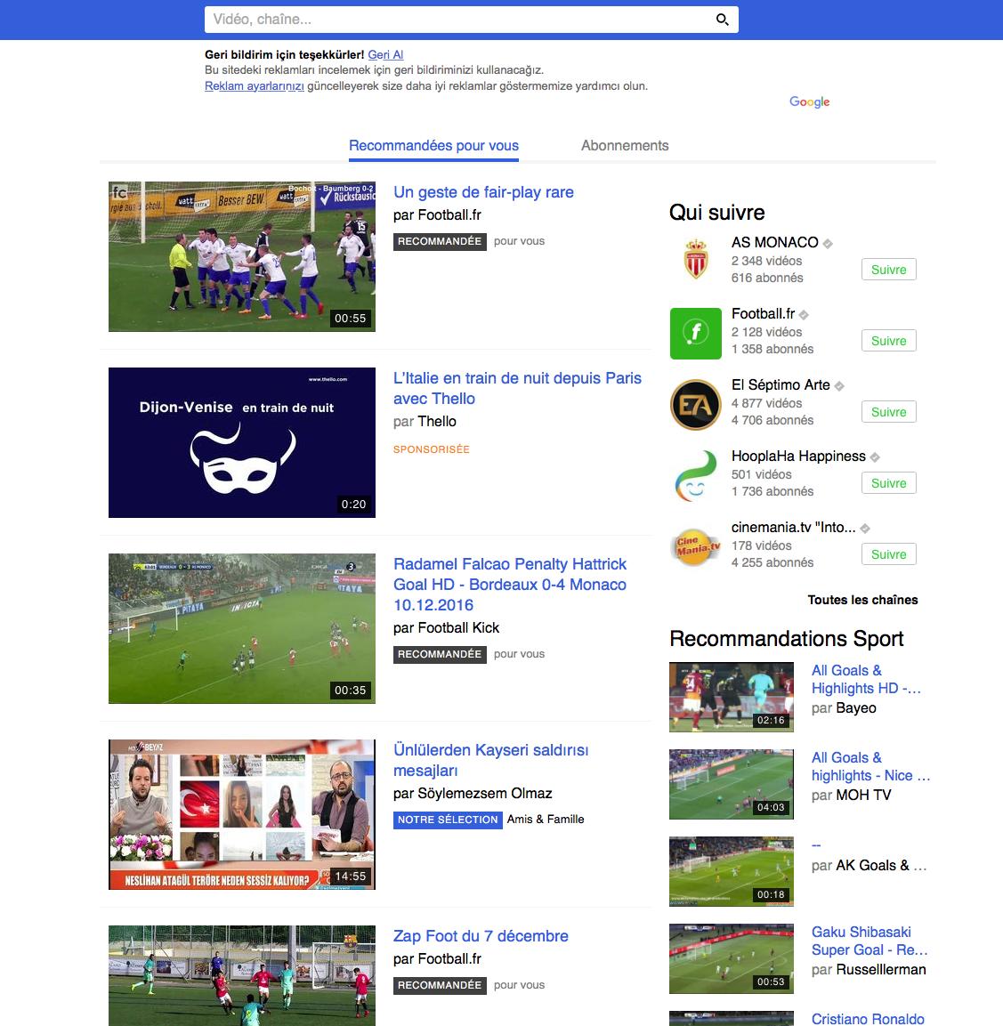 Übersetzung ins Türkische des Interface der Webseite Dailymotion